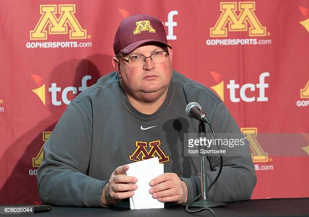 Minnesota head coach Tracy Claeys answers questions during a postgame interview in the media center Wisconsin beat Minnesota by a final score of 3117...
