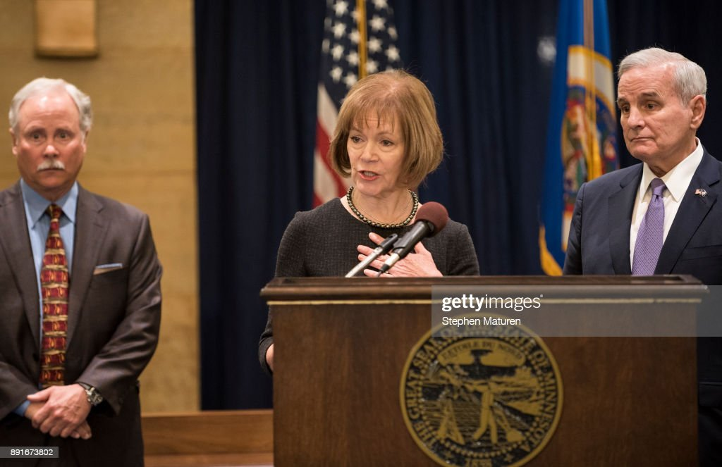 Minnesota Lt. Governor Tina Smith fields questions after being named the replacement to Sen. Al Franken by Governor Mark Dayton on December 13, 2017 at the Minnesota State Capitol in St. Paul, Minnesota. Franken resigned last week after multiple allegations of sexual harassment.