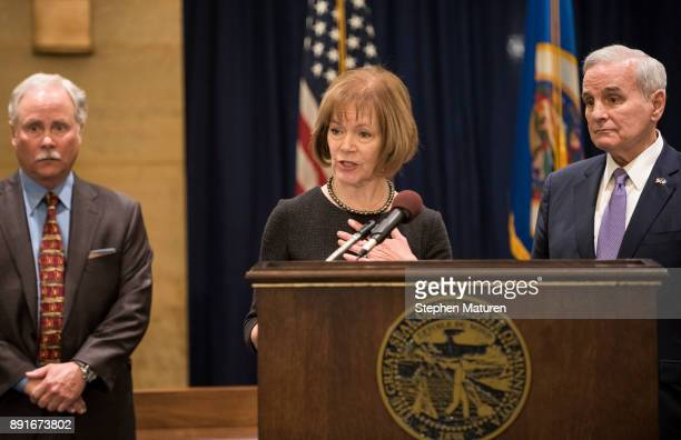 Minnesota Lt Governor Tina Smith fields questions after being named the replacement to Sen Al Franken by Governor Mark Dayton on December 13 2017 at...