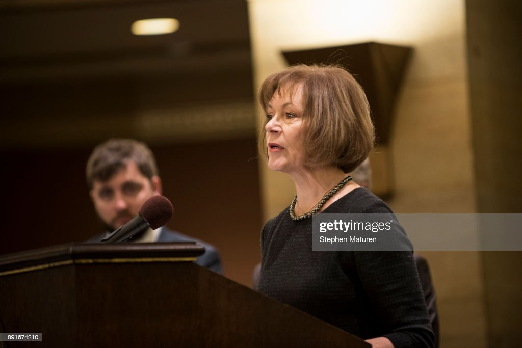 Minnesota Lt. Governor Tina Smith fields questions after being named the replacement to Sen. Al Franken by Governor Mark Dayton on December 13, 2017 at the Minnesota State Capitol in St. Paul, Minnesota. Franken resigned last week after a slew of sexual assault allegations.
