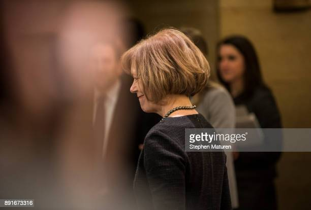 Minnesota Lt Governor Tina Smith smiles after being introduced as the replacement to Senator Al Franken on December 13 2017 at the Minnesota State...