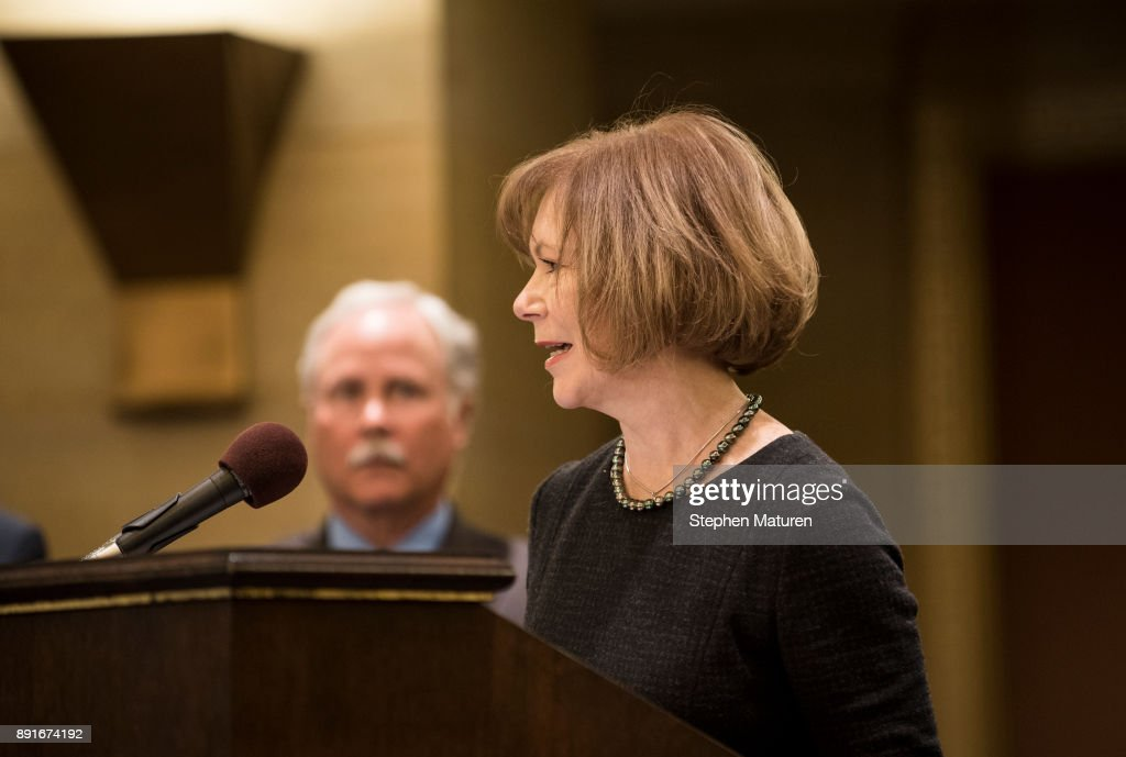 Minnesota Lt. Governor Tina Smith speaks after being named the replacement to Sen. Al Franken by Governor Mark Dayton on December 13, 2017 at the Minnesota State Capitol in St. Paul, Minnesota. Franken resigned last week after multiple allegations of sexual harassment.