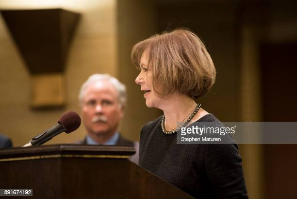 Minnesota Lt Governor Tina Smith speaks after being named the replacement to Sen Al Franken by Governor Mark Dayton on December 13 2017 at the...