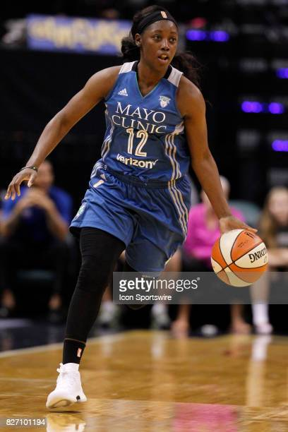 Minnesota Lynx guard Alexis Jones drives the ball up court during the game between the Minnesota Lynx and Indiana Fever AUG 06 at Bankers Life...