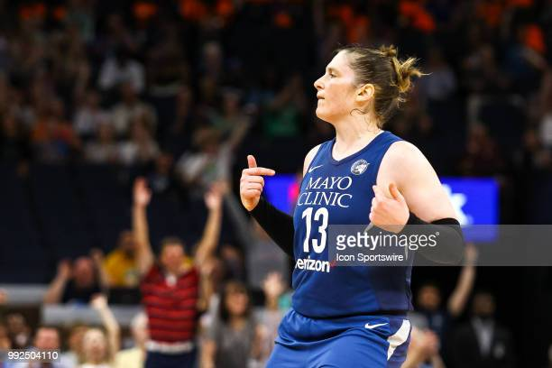 Minnesota Lynx guard Lindsay Whalen celebrates after hitting a 3 point shot in the 3rd quarter during the regular season game between the Los Angeles...
