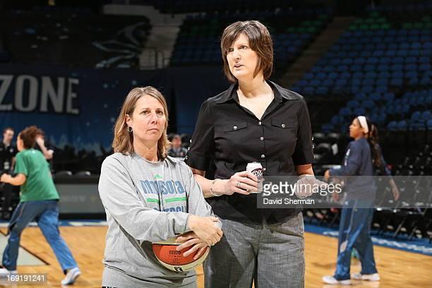 Minnesota Lynx Head Coach Cheryl Reeve and Connecticut Sun Head Coach Anne Donovan speak during warm ups before their WNBA preseason game on May 21...