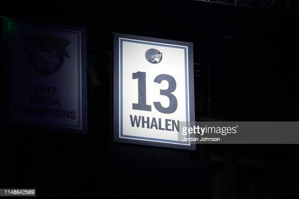 Minnesota Lynx Legend Lindsay Whalen's jersey is retired before the game against the Los Angeles Sparks on June 8 2019 at Target Center in...