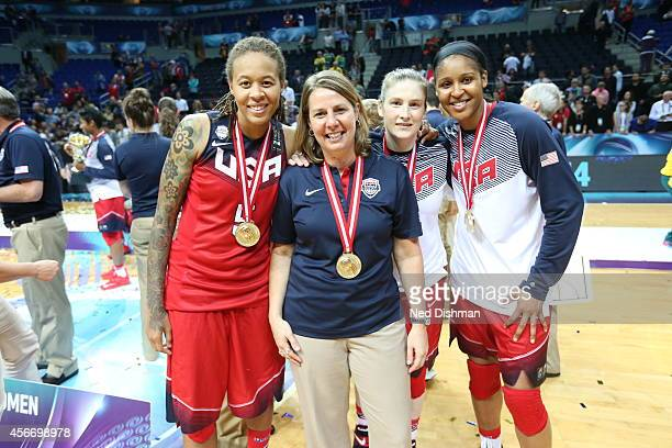Minnesota Lynx members of the Women's Senior US National Team receive their medal after defeating Spain during the finals of the 2014 FIBA World...