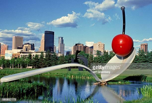 Minnesota Minneapolis City Skyline Seen From Sculpture Gardens Spoon And Cherry Art Piece