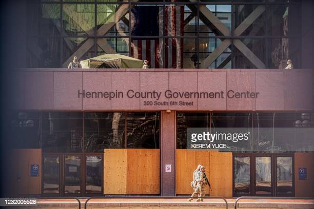 Minnesota National Guards patrol outside the Hennepin County Government Center during the opening statement of former Minneapolis Police officer...