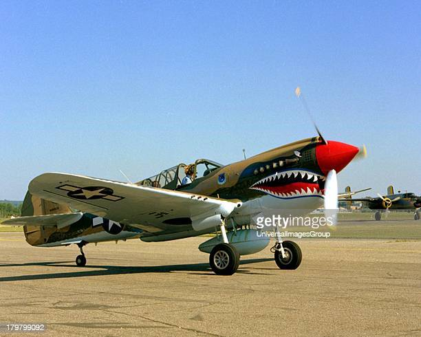 Minnesota, South St Paul, Fleming Field, Curtiss-Wright P-40 War hawk Flying Tiger on Taxiway.