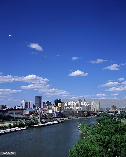 usa, minnesota, st paul skyline and mississippi river - st. paul minnesota stock pictures, royalty-free photos & images