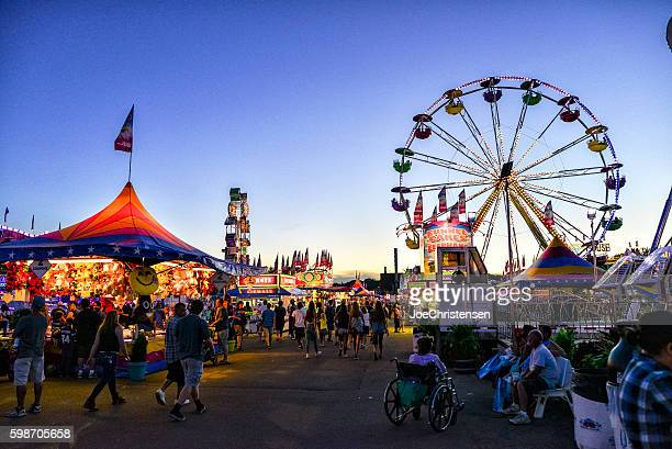 Minnesota State Fair's Busy Midway Area at Dusk