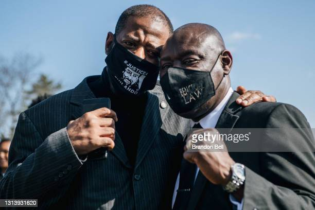 Minnesota state Rep. John Thompson and attorney Benjamin Crump pose for a portrait during funeral services for Daunte Wright on April 22, 2021 in...
