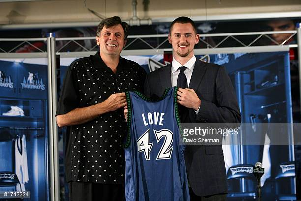 Minnesota Timberwolves 2008 First Round draft pick Kevin Love is introduced to the media by Kevin McHale, Vice President of Basketball Operations on...