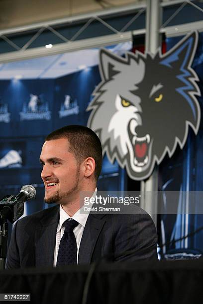 Minnesota Timberwolves 2008 First Round draft pick Kevin Love is introduced to the media on June 27, 2008 at the Target Center in Minneapolis,...