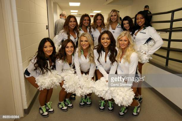Minnesota Timberwolves dancers pose backstage before the game against the Sacramento Kings on December 14 2017 at Target Center in Minneapolis...