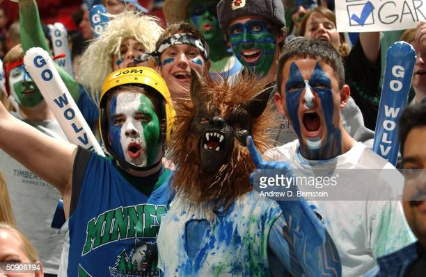 Minnesota Timberwolves fans cheer in Game two of the Western Conference Finals between the Los Angeles Lakers and the Timberwolves during the 2004...