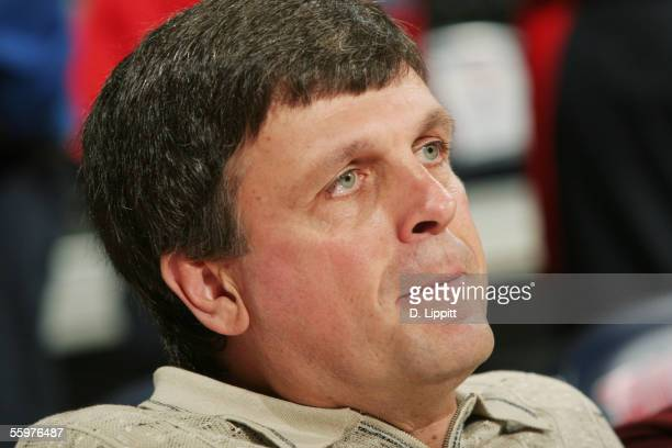 Minnesota Timberwolves general manager Kevin Mchale looks on before a preseason game against the Detroit Pistons on October 16 2005 at the Palace of...