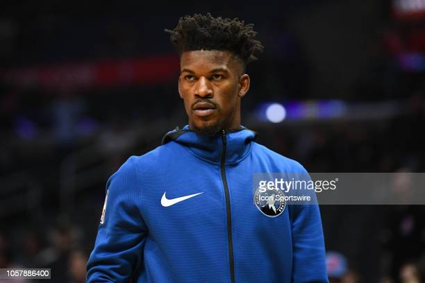 Minnesota Timberwolves Guard Jimmy Butler looks on before a NBA game between the Minnesota Timberwolves and the Los Angeles Clippers on November 5...