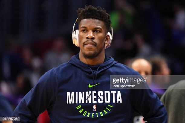 Minnesota Timberwolves Guard Jimmy Butler looks on before an NBA game between the Minnesota Timberwolves and the Los Angeles Clippers on January 22...