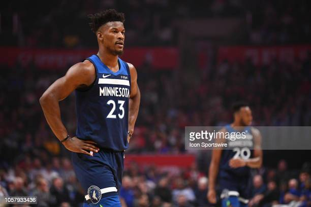 Minnesota Timberwolves Guard Jimmy Butler looks on during a NBA game between the Minnesota Timberwolves and the Los Angeles Clippers on November 5...