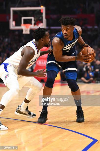 Minnesota Timberwolves Guard Jimmy Butler looks to attack the basket during a NBA game between the Minnesota Timberwolves and the Los Angeles...