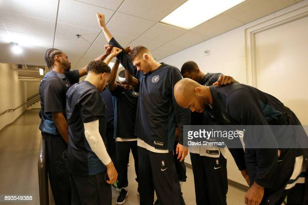 Minnesota Timberwolves huddle up before the game against the Sacramento Kings on December 14 2017 at Target Center in Minneapolis Minnesota NOTE TO...