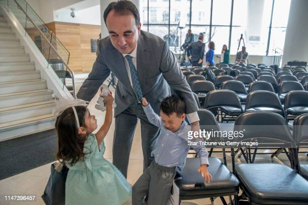 Minnesota Timberwolves new president of basketball operations Gersson Rosas was greeted by his tired 3yearold twins Giana left and Grayson after he...