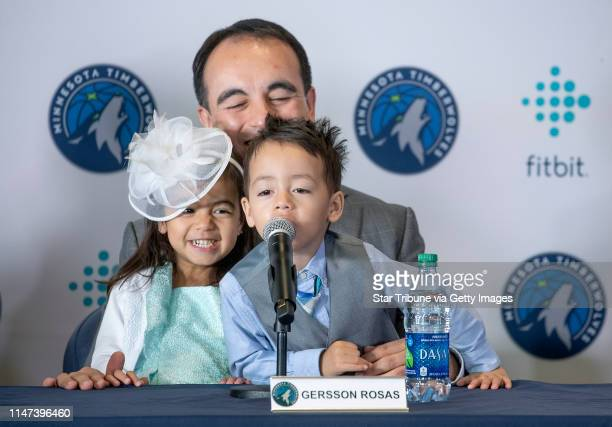 Minnesota Timberwolves new president of basketball operations Gersson Rosas laughed as his 3yearold twins Giana left and Grayson took over the...
