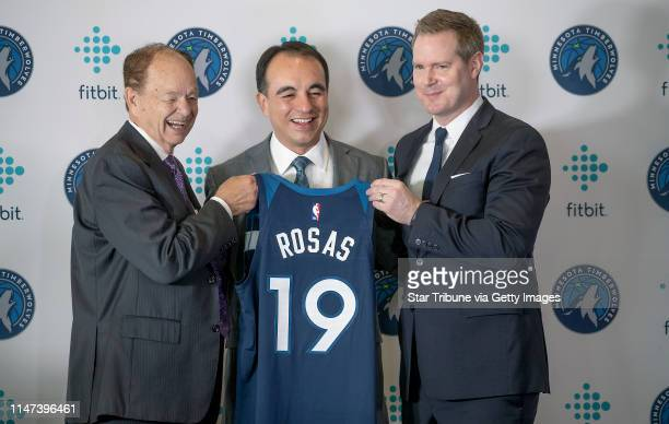 Minnesota Timberwolves owner Glen Taylor left new Wolves president of basketball operations Gersson Rosas center and Wolves CEO Ethan Casson posed...
