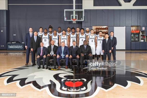 Minnesota Timberwolves ownership players coaches and medical staff pose for the annual Team Portrait on March 9 2017 at the Minnesota Timberwolves...