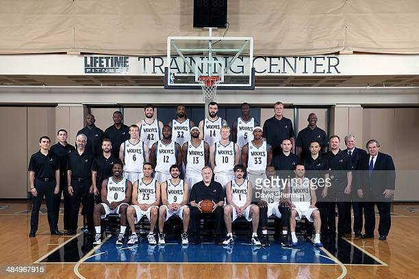 Minnesota Timberwolves players coaches and medical staff pose for the annual Team Portrait on April 12 2014 at the Minnesota Timberwolves and Lynx...