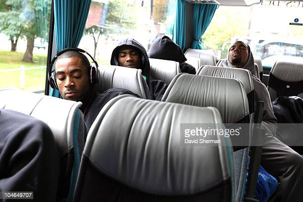 Minnesota Timberwolves players ride the bus to team practice during 2010 NBA Europe Live on October 2 2010 in London England NOTE TO USER User...