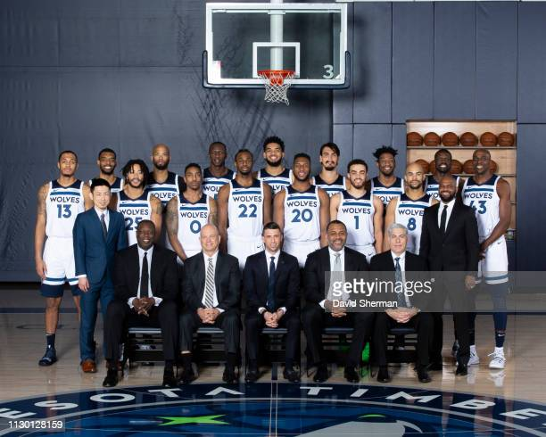 Minnesota Timberwolves pose for the annual Team Portrait on March 8 2019 at the Minnesota Timberwolves and Lynx Courts at Mayo Clinic Square in...
