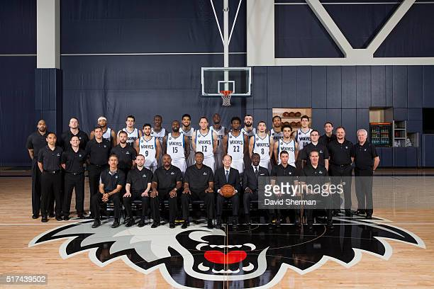 Minnesota Timberwolves Traveling Party pose for the annual Team Portrait on March 22 2016 at the Minnesota Timberwolves and Lynx Courts at Mayo...