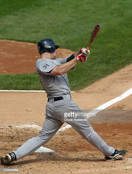 Minnesota Twins' 1st Baseman Justin Morneau hitting a 2run homer during the game against the Chicago White Sox July 26 2006 at US Cellular Field in...