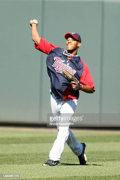 Minnesota Twins 2012 first round draft pick Byron Buxton shags fly balls during batting practice before the game against the Philadelphia Phillies on...