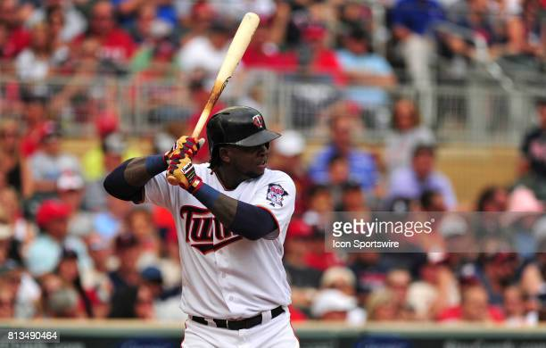 Minnesota Twins batter Miguel Sano bats against the Baltimore Orioles in the first inning of their Major League Baseball game on July 09 2017 at...