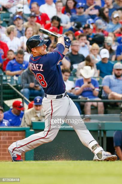 Minnesota Twins Catcher Chris Gimenez bats during the MLB game between the Minnesota Twins and Texas Rangers on April 24 2017 at Globe Life Park in...