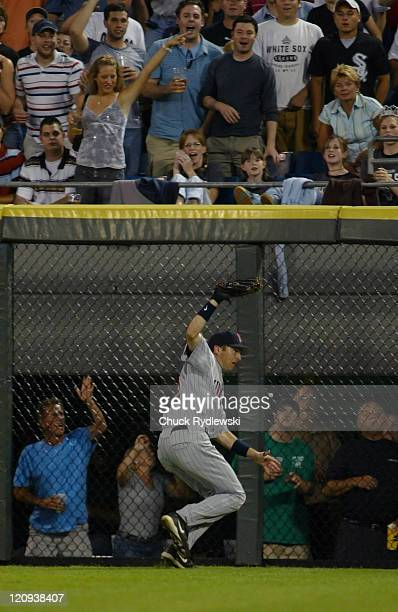 Minnesota Twins Center Fielder Jason Tyner hauls in Jim Thome's bid for extra bases during the game against the Chicago White Sox July 24 2006 at US...