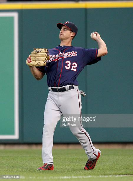 Minnesota Twins center fielder Logan Schafer catches the ball hit by Detroit Tigers right fielder JD Martinez second inning of a baseball game in...