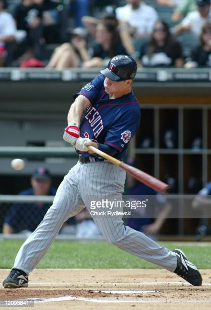 Minnesota Twins' first baseman, Justin Morneau, batting during their game against the Chicago White Sox August 27, 2006 at U.S. Cellular Field in...