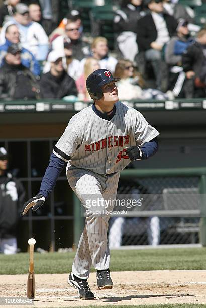 Minnesota Twins' first baseman Justin Morneau hits a threerun home run versus the Chicago White Sox April 8 2007 at US Cellular Field in Chicago...