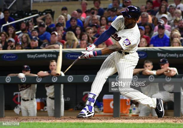 Minnesota Twins infielder Niko Goodrum shatters his bat during his 1st Big League plate appearance during a MLB game between the Minnesota Twins and...