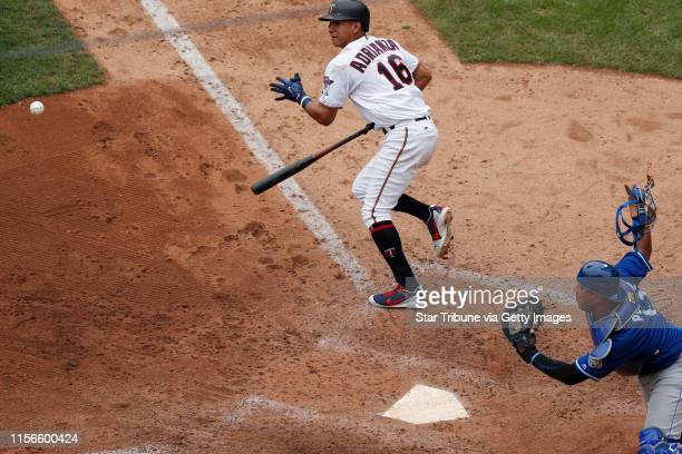 Minnesota Twins left fielder Ehire Adrianza bunted in the eight inning as Kansas City Royals catcher Salvador Perez reacted and threw him out at...