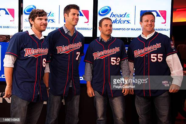 Minnesota Twins Liam Hendriks Joe Mauer Brian Duensing and Matt Capps visit the MLB Fan Cave Wednesday April 18 at Broadway and 4th Street in New...