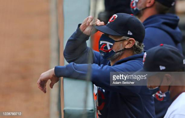 Minnesota Twins manager Rocco Baldelli watches in disbelief as the Houston Astros defeated the Minnesota Twins 4-1 during game one of the American...