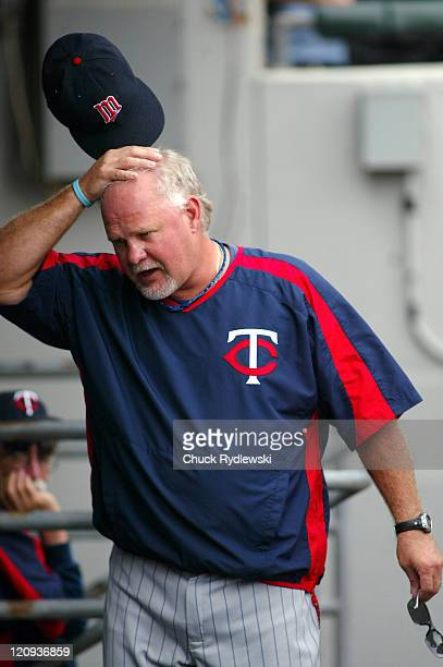 Minnesota Twins' Manager Ron Gardenhire scratches his head as he paces the dugout during their game against the Chicago White Sox August 27 2006 at...