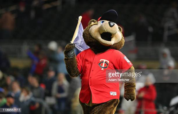 Minnesota Twins Mascot TC takes the field after the Minnesota Twins defeated the Baltimore Orioles 61 at Target Field on April 26 2019 in Minneapolis...